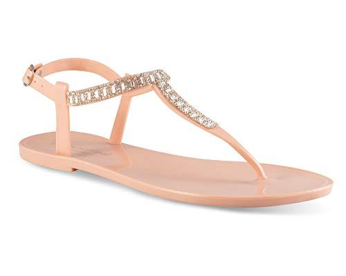 - Twisted Women's Justina Rhinestone T-Strap Jelly Flat Sandal, JUSTINA04 Blush Size 10
