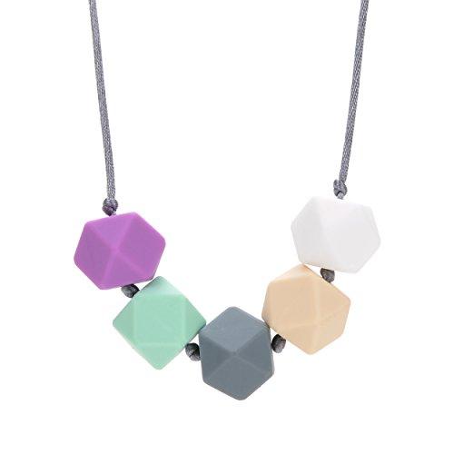Silicone Teething Necklace BPA Free White Ivory Grey Mint Purple