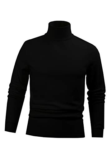 - BLACK Men's Combed Cotton Euro Design Ski Casual Turtleneck (Large)