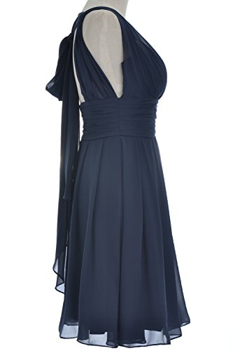 Gown Wedding V MACloth Bridesmaid Elegant Grau Dress Short Neck Party Formal x7wwYTqzI