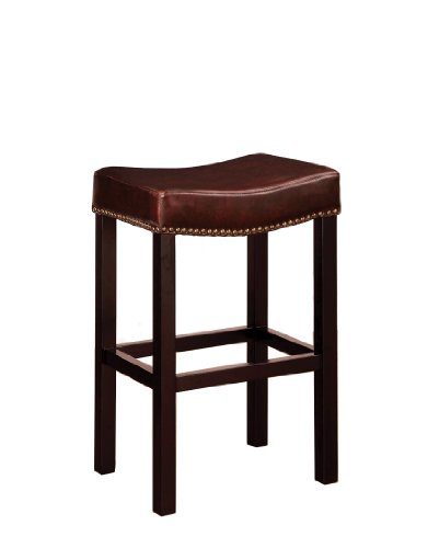 Armen Living Mbs-013 Tudor Backless 30-Inch Stationary Barstool, Antique Brown Leather with Nailhead Accents