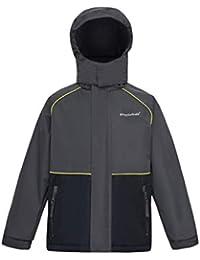 YINGJIELIDE Boys Girls Hooded Waterproof Jacket Fleece Lined Rain Coat Spring Fall Outdoor Windbreaker Grey 11-12 Years