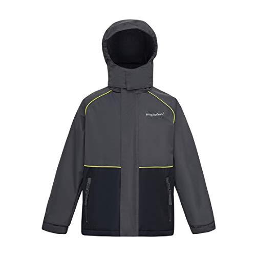 (YINGJIELIDE Boys Girls Hooded Waterproof Jacket Fleece Lined Rain Coat Spring Fall Outdoor Windbreaker Grey 5-6 Years)