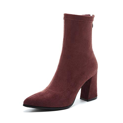 Red Stivaletti Donna Tacco A Women's Alti Punta Corta Boots Da Con Brick wPxU5gqB