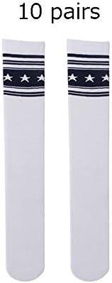スポーツソックス 靴下 子供子供綿スター柄プリントスポーツサッカーチームソックスユニフォームチューブかわいいニーハイストッキング用男の子女の子パフォーマンスソックス、10ペア (色 : C2, サイズ : Free)