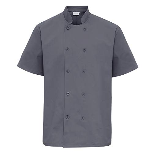 - Premier Unisex Short Sleeved Chefs Jacket/Workwear (XS) (Steel)