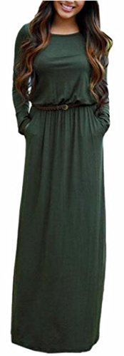 Solide Collo Manica Lunga Tasche Jaycargogo Lungo Green Da Belt Maxi Donna Con Vestito Rotonde Fwtq6Xd