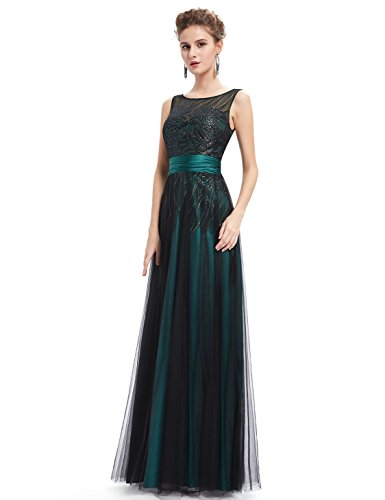 Ever-Pretty Womens Illusion Neckline Long Sparkly Prom Dress 12 US Green