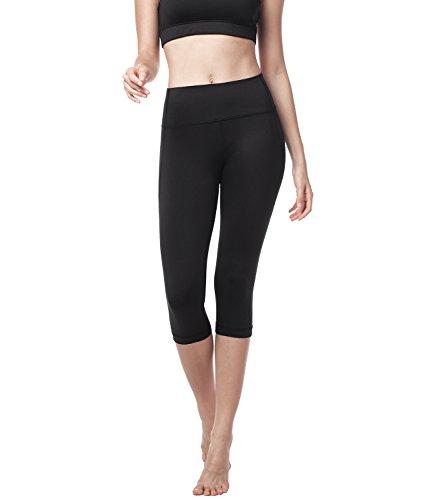 LAPASA High Waist Yoga Capri Tummy Control Sports Leggings Workout Capris L02 (Space Black, S Check Our SizeChart to get Right Size)
