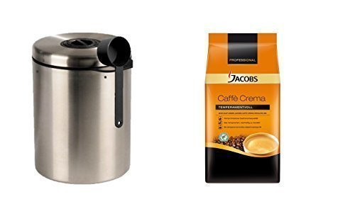 Jacobs Le Grand Café Crème + Bote de acero inoxidable para 1 kg Granos de Café ...