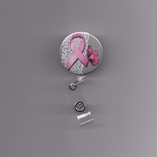 Breast Cancer Awareness Pink Ribbon & Butterfly Lace Background Retractable Clip On White Work ID badge Holder