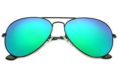 YuFalling Polarized Aviator Sunglasses for Women and Men (black frame/green lens, 58) ()