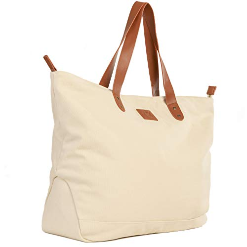 (Everyday Canvas Tote Bag - Large with Interior Pockets and Zipper Top)