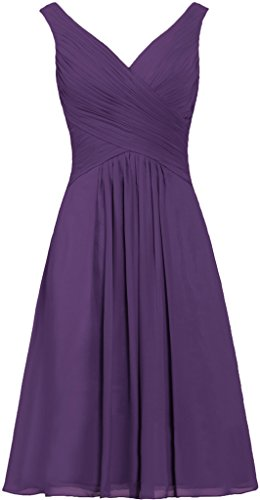ANTS Women's Tanks Straps Bridesmaid Dresses Short Chiffon Prom Dress Size 16 US Grape