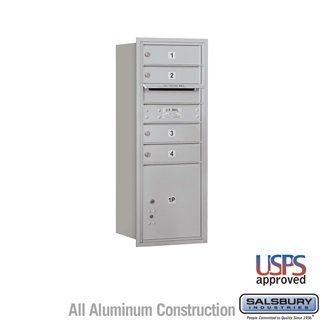 SalsburyIndustries 3710SA-04ARU Single Column 4C Horizontal Mailbox Rear Loading 4 Mb1 Doors44; Aluminum Single Column Rear Loading