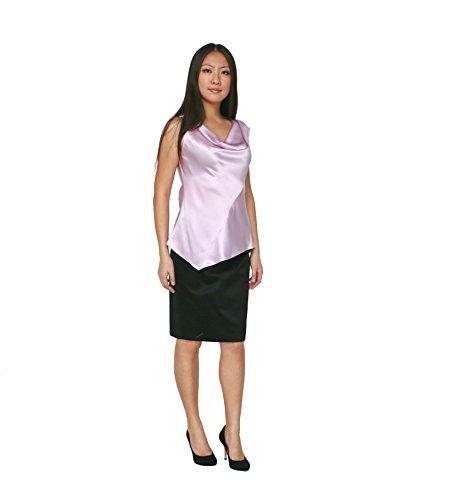 H.Y. Style Womens Asymmetric Cowl Neck Silk Top 6 Black by HY STYLE