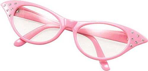 Bristol Novelties Ladies 50S Style Rock N Roll Dame Edna Specs Fancy Party Pink (Dame Edna Costumes)