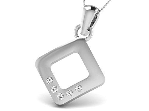 Or Blanc 14 ct Pendentifs Diamant en forme de Carré, 0.05 Ct Diamant, GH-SI, 0.66 grammes.