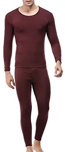 today-UK Men's Heat Retention Warm Comfy Thermal Long Underwear Set Wine Red