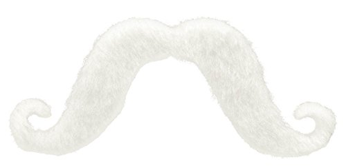 Team Spirit White Handlebar Mustache, Adhesive Costume Accessory
