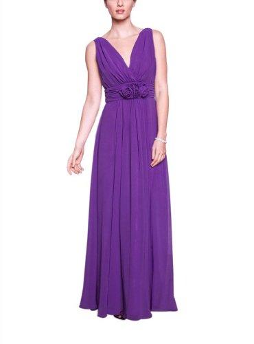 handgemachten Lila V Abendkleid Blumen Ausschnitt Designer BRIDE mit Brautjungfernkleid GEORGE Neue mit Lange Chiffon Strap qR76wXgT