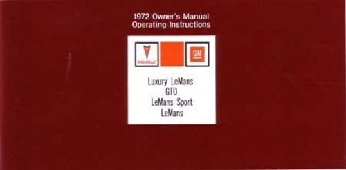 1972 Pontiac GTO and LeMans Owners Manual