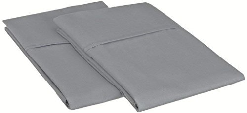 (HighCaliber Beddings 2 Pcs Pillow Cases 100% Egyptian Cotton 600 Thread Count Solid Pattern All Size & Colors (Standard - 20 x 26 Inch, Silver Grey))