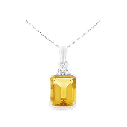 14K White Gold 6 x 8 mm. Emerald Cut Citrine and Diamond Pendant With Square Rolo Chain - Cut Emerald Pendant Citrine