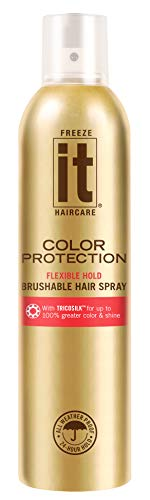 IT Haircare Freeze Color Protection Flexible Hold Brushable Hair Spray | 7.75 Oz | Infused with Tricosilk for up to 100% Greater Color & Shine | Strongest Hold in ALL Weather | UV Protectant (Best Hairspray For Colored Hair)