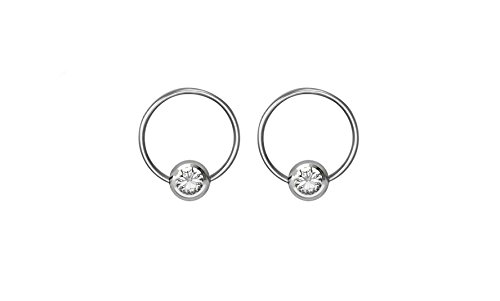 (Pair of 18g 6mm Every-Day Surgical Steel Clear Jeweled Captive Bead Ring Body Piercing Hoops)