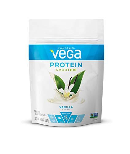 Vega Protein Smoothie, Vanilla, 12 Servings, 9.3 oz Pouch, Plant Based Vegan Protein Powder, Gluten Free, Non Dairy, Vegan, Non Soy, Stevia Free, Non GMO