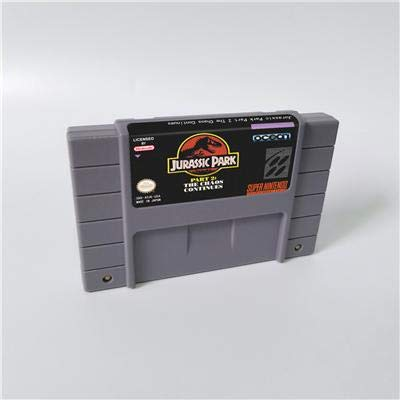 Game card - Game Cartridge 16 Bit SNES , Game Jurassic Park Part 2 The Chaos Continues - Action Game Card US Version English Language (Jurassic Park Part 2 The Chaos Continues Snes)