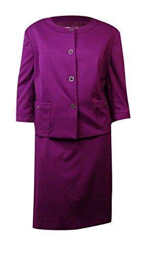 Tahari ASL Women's Plus-Size Rita Skirt Suit, Magenta, 24W