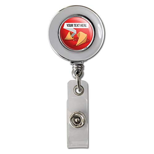 Personalized Custom Fortune Cookie Retractable Reel Chrome Badge ID Card Holder - Card Fortune Cookie