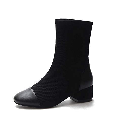 In Hylff Classici Martin Pelle Comode Basse Con Scarpe Chelsea Casual Cinturino Black Donna Impermeabili Stivaletti Da HqwafxtqAX