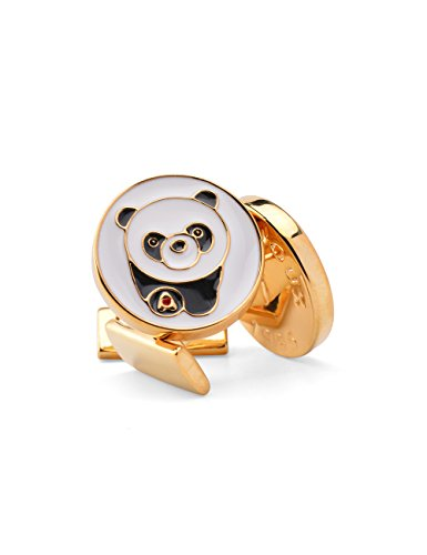 welbijoux Mens Cuff Links Enamel Engraved Panda Cuffs Luxury French Tuxedo Shirt Cufflinks for Men with Gift box 1 Set (Custom French Cuff Shirts)