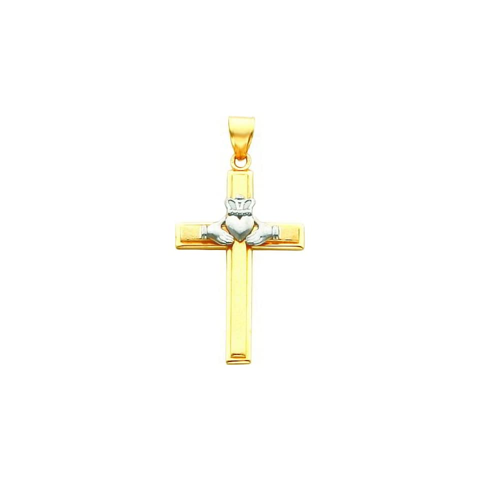 14K Two Tone Gold Claddagh Cross Pendant Charm
