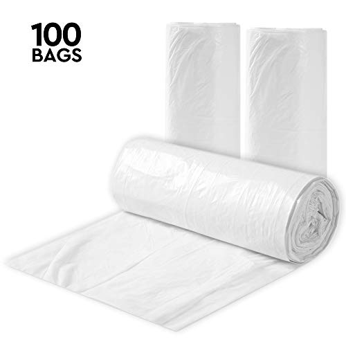 Clear 7-10 Gallon Trash Bags, 100 Bulk Pack - Medium Size Garbage Bin Liners For Office, Bedroom and Kitchen Wastebasket Cans - by Executive - Office Executive Collection