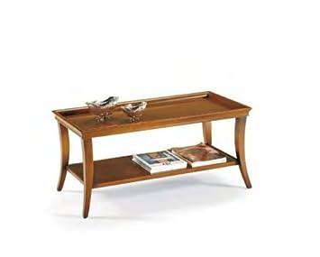 Tavolino da soggiorno salotto in legno color noce classico e