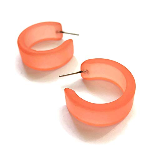 Coral Hoop Earrings | Vintage Frosted Lucite Wide Classic Hoops