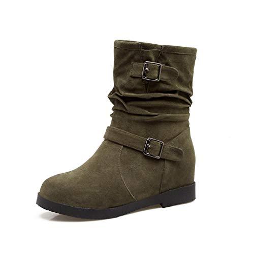 Chelsea Lunghi autunno Abcone Casuale Verde Invernali scarpe Plus Solido Metallo Punta Stivali Da Donna Scarpe In Scarpa Tonda Passeggio Stivali Retrò tBBqwH6