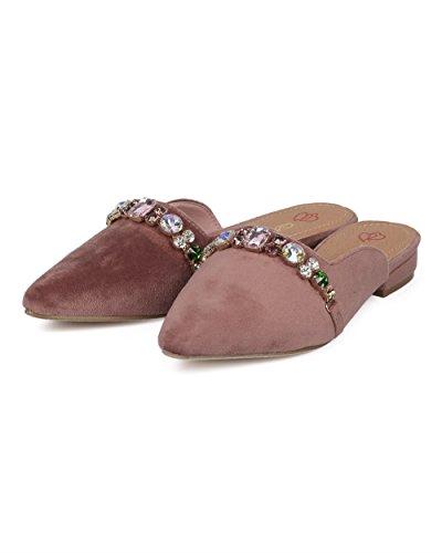 Alrisco Women Pointy Toe Slip on Mule - Rhinestone Embellished Loafer Slide - Low Heel Slip on Loafer Mule - GD29 by DbDk Collection Blush Faux Suede VXwuH