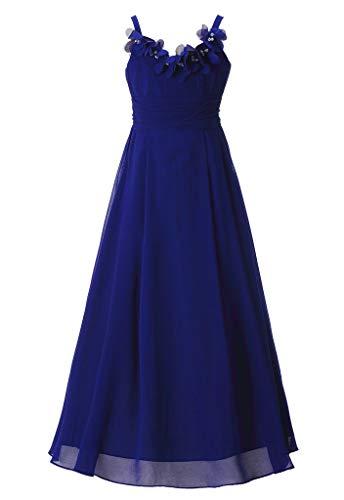 Happy Rose Long Chiffon Flower Girls Juniors Bridesmaid Dress Royal Blue 18