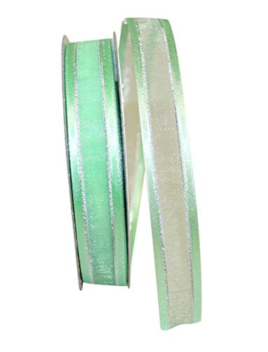 Reliant Ribbon 25205-776-03J Sheer Satin Edge Metallic Ribbon, 5/8 Inch X 25 Yards, Mint/Silver