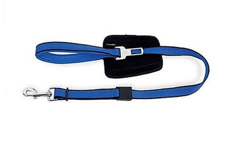 Bamboo Quick Control 3 Foot Leash with Seat Belt Latch Blue