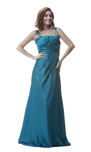 PolyUSA Women's Full Length Pleated Charmeuse Evening & Prom Dress M Teal