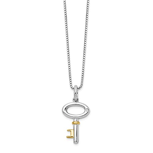 925 Sterling Silver Gold Plated .01ct Diamond Key Chain Necklace Pendant Charm Fine Jewelry Gifts For Women For Her ()