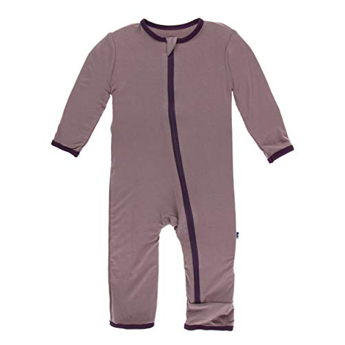 (Kickee Pants Little Girls Solid Coverall with Zipper - Raisin with Wine Grapes, 9-12 Months)
