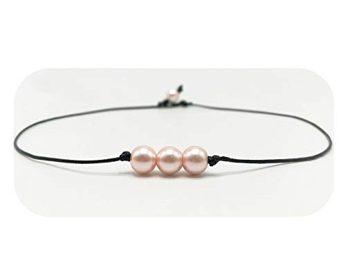 - Hundred River Letter Necklace with Pearl Pink Leather Daughter Gift(Pink 3