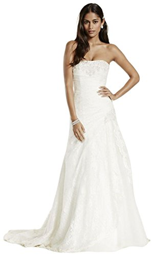 A-line Lace Wedding Dress with Side Split Detail Style YP3344, White, 16